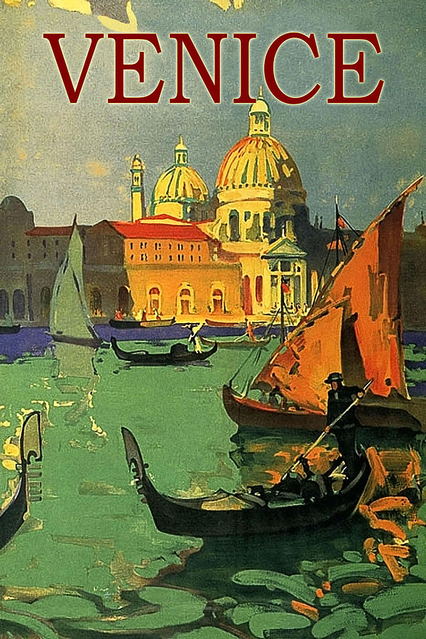 Venice Painting - Venice, Italy, Gondolas by Long Shot