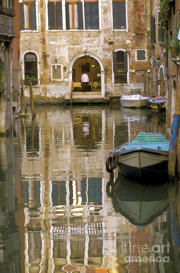 Boats Photograph - Venice Restaurant On A Canal  by Gordon Wood