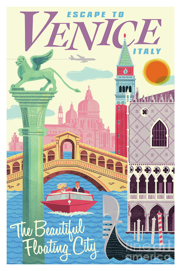 Mid Century Modern Digital Art - Venice Poster - Retro Travel  by Jim Zahniser