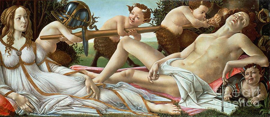 Venus Painting - Venus And Mars by Sandro Botticelli
