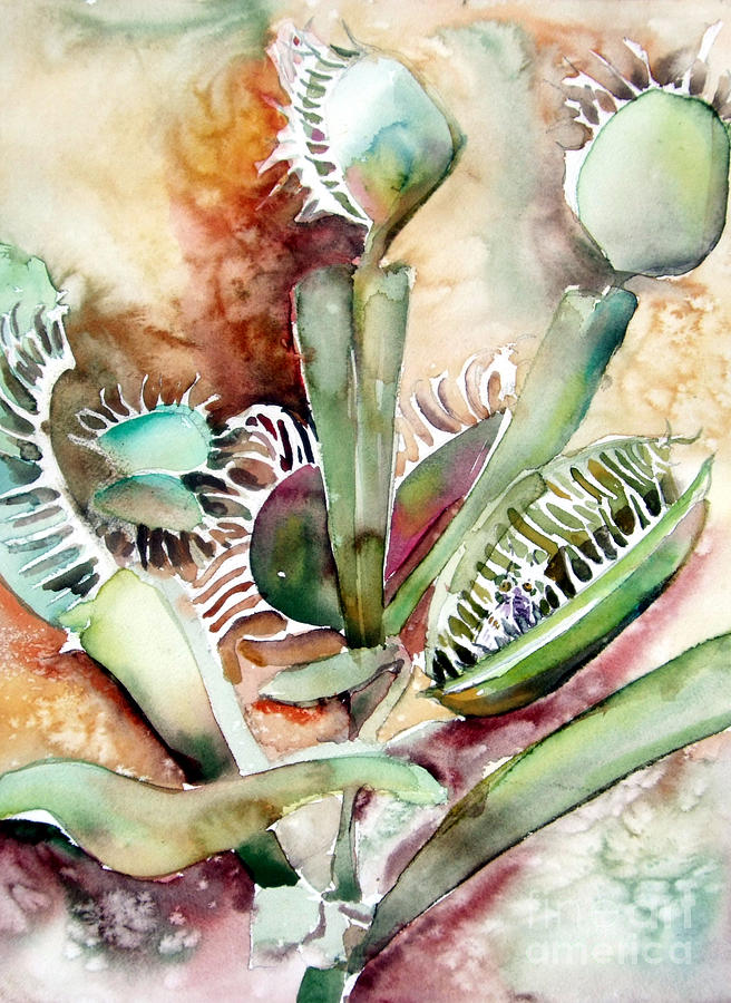 Venus Fly Trap Painting - Venus Fly Trap by Mindy Newman