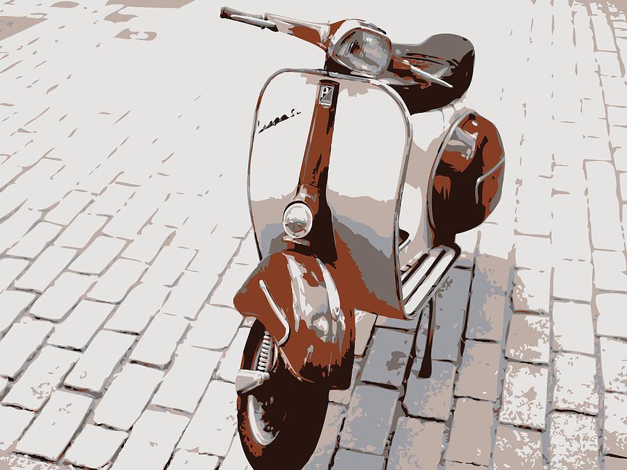 Vespa Digital Art - Vespa Scooter Pop Art by Michael Tompsett