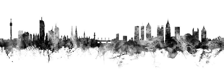 Vienna Digital Art - Vienna Austria And Atlanta Skylines Mashup by Michael Tompsett