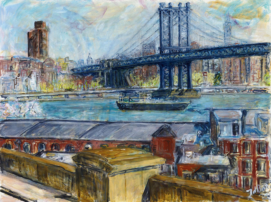 View From Brooklyn Bridge Painting by Joan De Bot