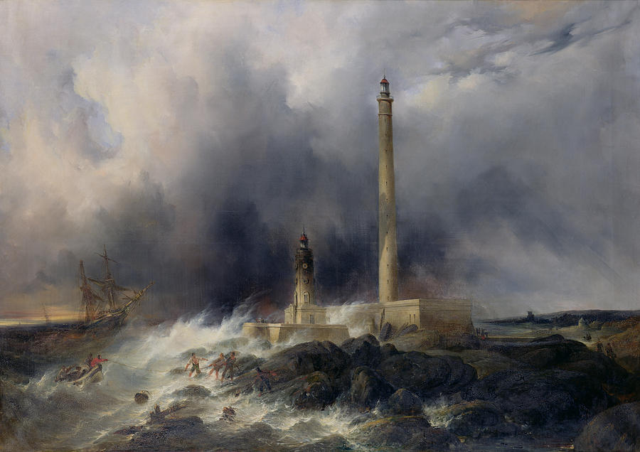 View Painting - View Of The Lighthouse At Gatteville by Jean Louis Petit