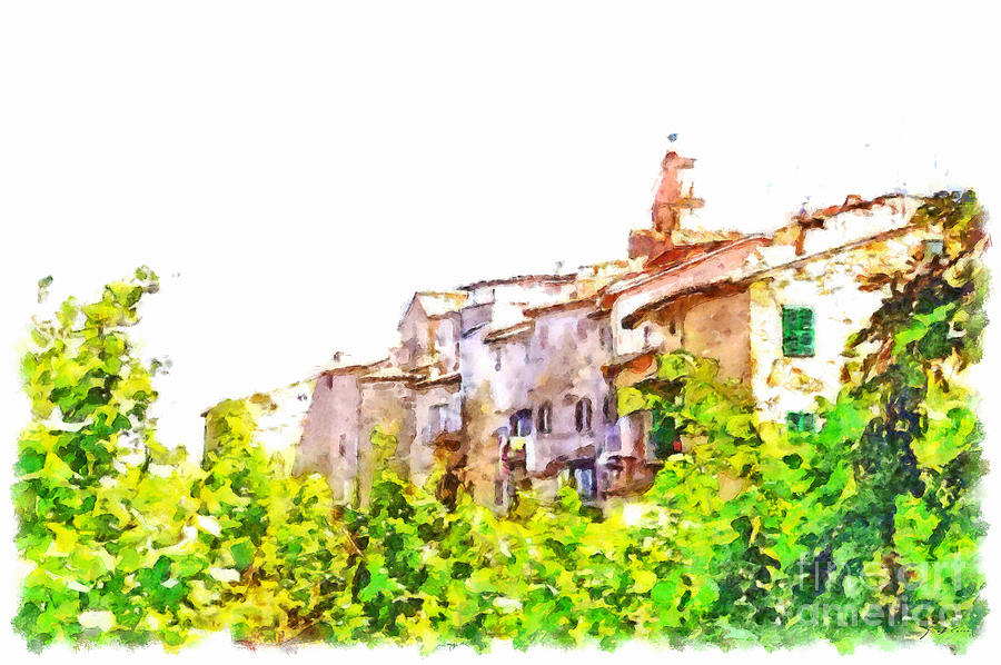 Landscape Painting - View Of The Village by Giuseppe Cocco