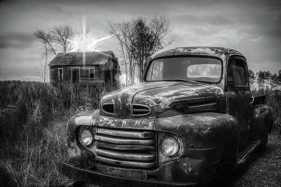 1948 Photograph - Vintage Classic Ford Pickup Truck In Black And White by Debra and Dave Vanderlaan