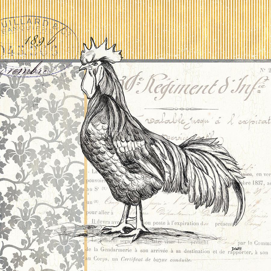 Rooster Painting - Vintage Farm 1 by Debbie DeWitt