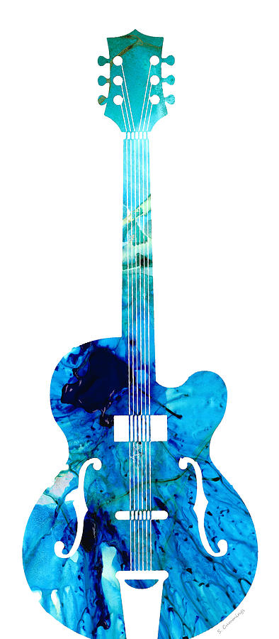 vintage guitar 2 colorful abstract musical instrument painting by sharon cummings. Black Bedroom Furniture Sets. Home Design Ideas