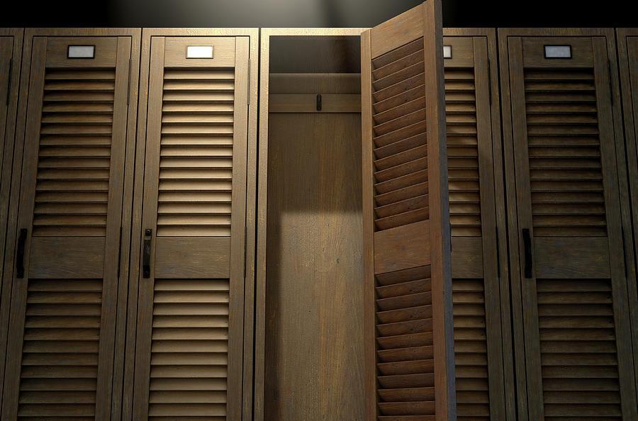 Locker Digital Art - Vintage Locker And Open Door by Allan Swart