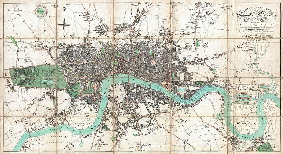 Map Of England Vintage.Vintage Map Of London England Drawing By Cartographyassociates