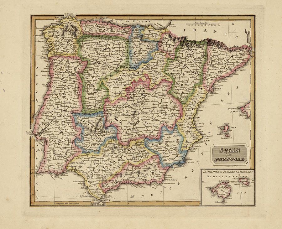 Map Of Spain 8th Century.Antique Map Of Spain By Fielding Lucas