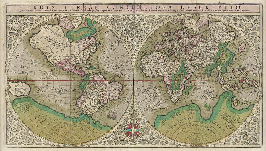 Vintage Map Of The World - 1607 Drawing