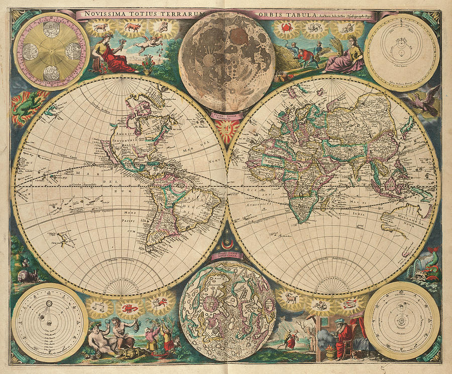 World Drawing - Vintage Map of The World - 1672 by CartographyAssociates