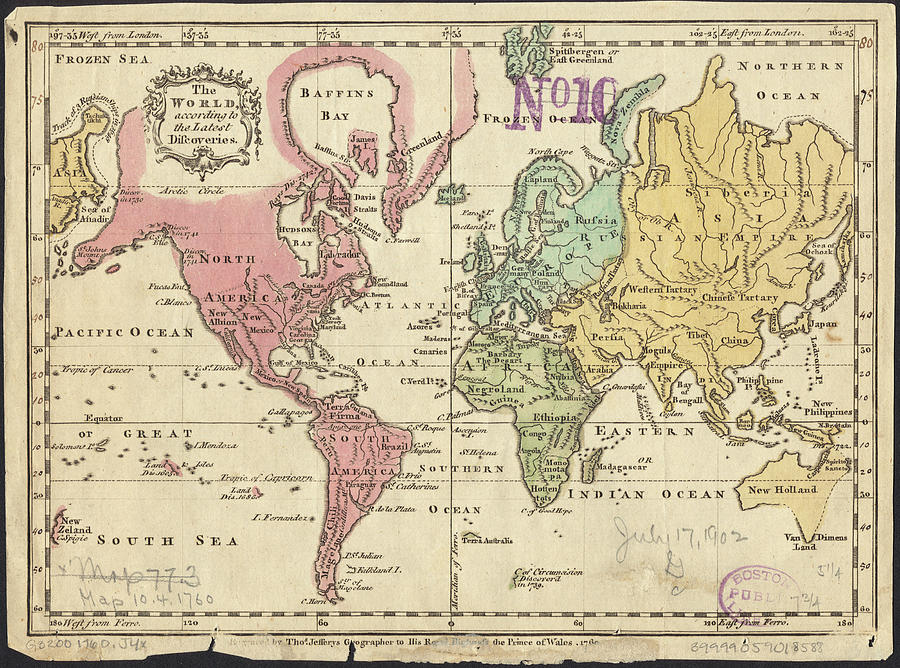 Vintage Map Of The World - 1760 Drawing