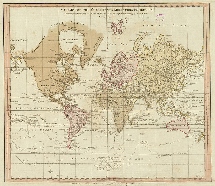 Vintage Map Of The World - 1775 Drawing