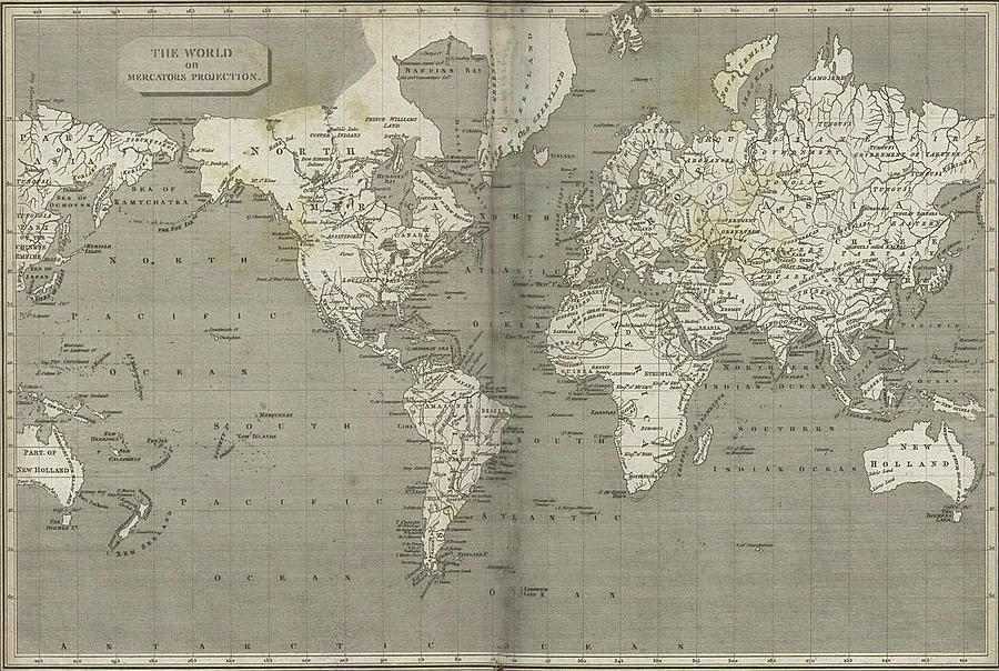 Vintage Map Of The World - 1820 Drawing