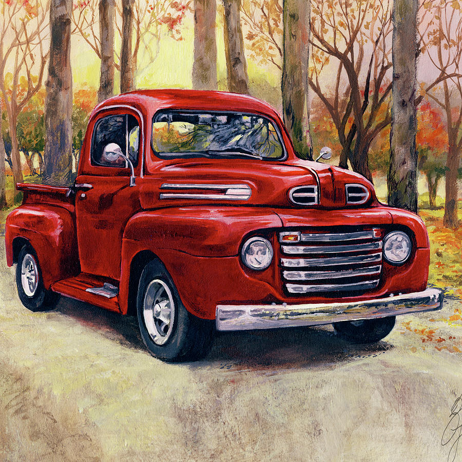 vintage red pick up truck painting by gina jane