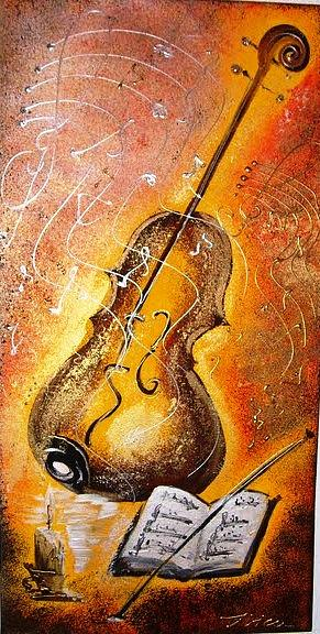 Music Painting - Violin by Ilica Ana maria