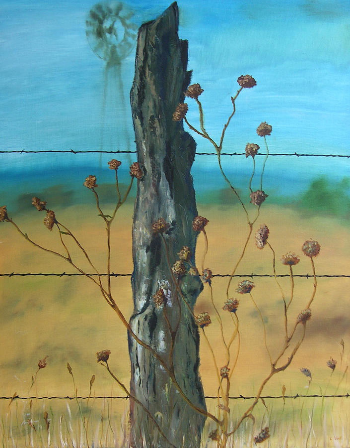 Fence Post Painting - Virga by Ladonna Idell