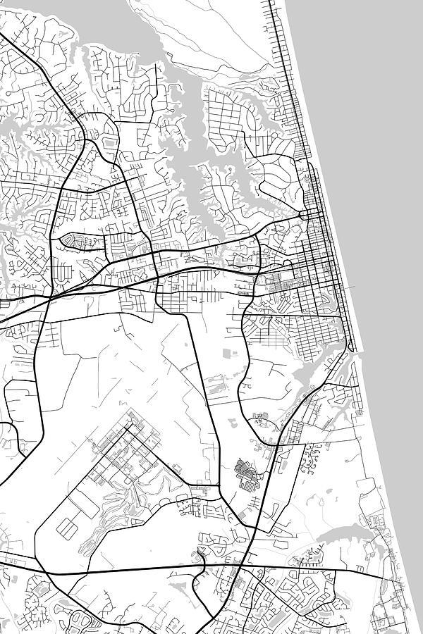 Virginia Beach Virginia Usa Light Map by Jurq Studio
