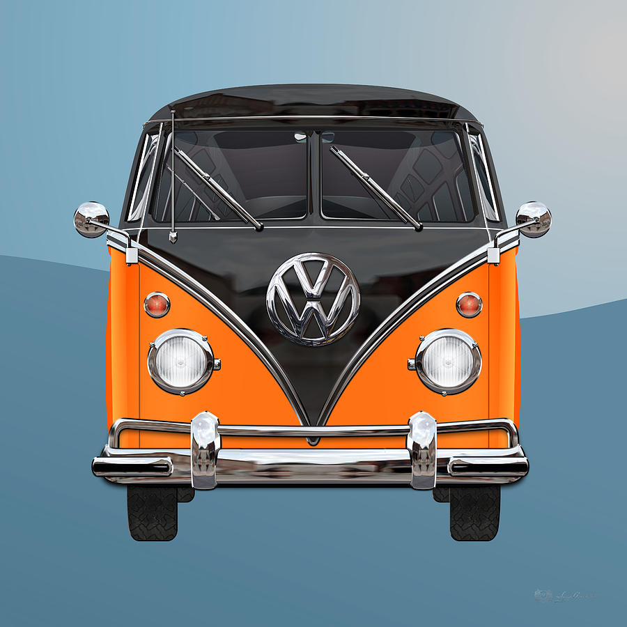 Car Photograph - Volkswagen Type 2 - Black And Orange Volkswagen T 1 Samba Bus Over Blue by Serge Averbukh