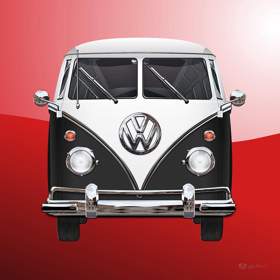 Car Photograph - Volkswagen Type 2 - Black and White Volkswagen T 1 Samba Bus on Red  by Serge Averbukh