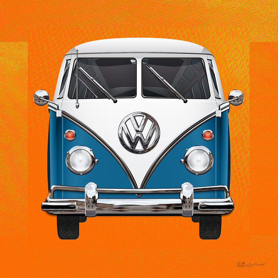 Car Photograph - Volkswagen Type 2 - Blue and White Volkswagen T 1 Samba Bus over Orange Canvas  by Serge Averbukh