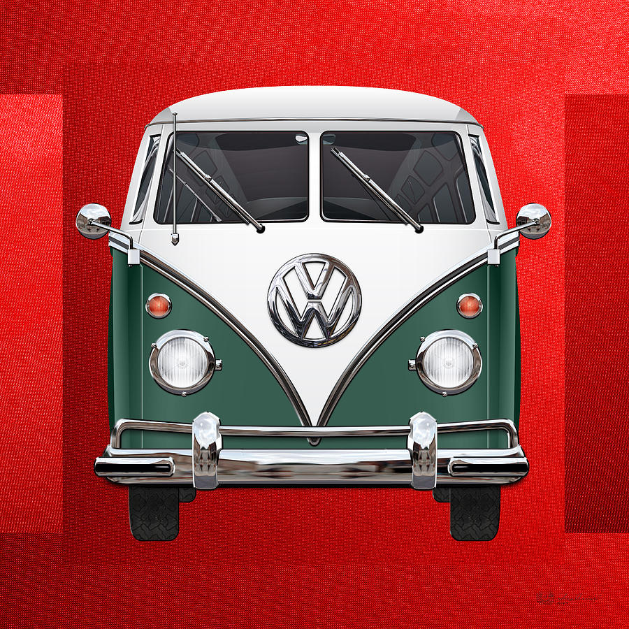 Car Photograph - Volkswagen Type 2 - Green And White Volkswagen T 1 Samba Bus Over Red Canvas  by Serge Averbukh