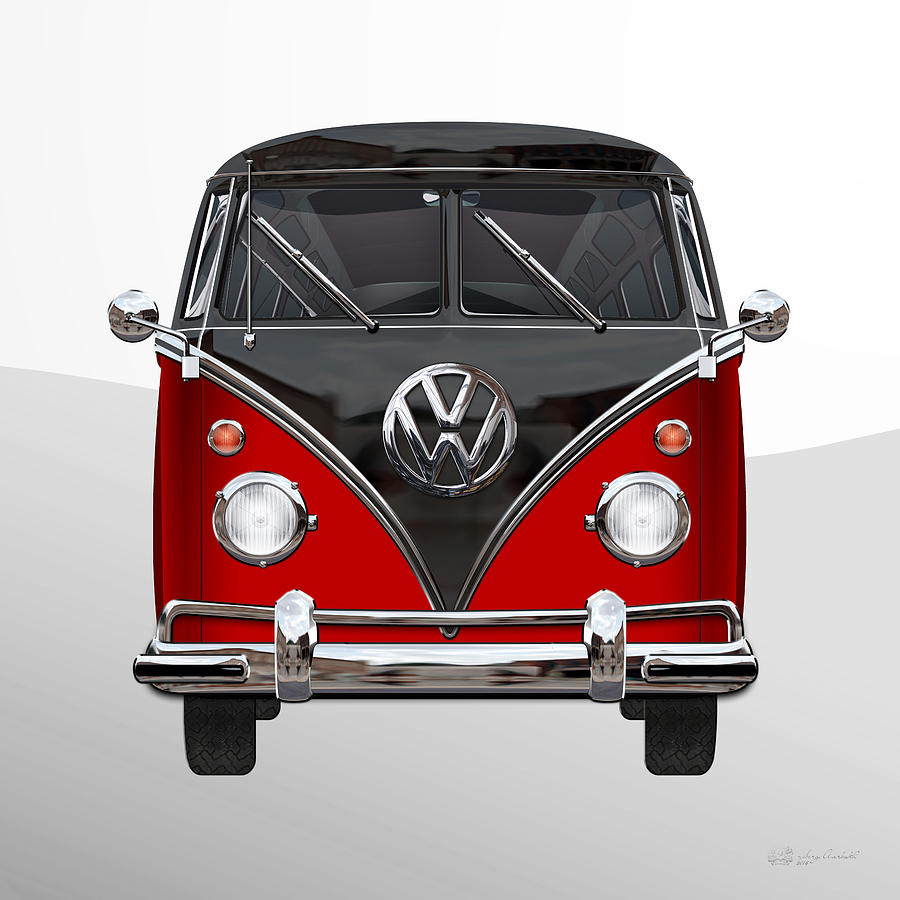 Car Photograph - Volkswagen Type 2 - Red And Black Volkswagen T 1 Samba Bus On White  by Serge Averbukh