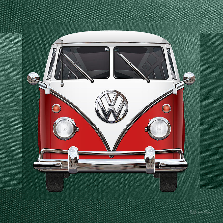 Car Photograph - Volkswagen Type 2 - Red And White Volkswagen T 1 Samba Bus Over Green Canvas  by Serge Averbukh