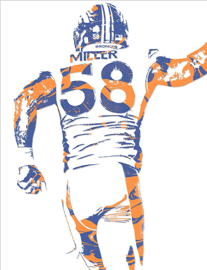 Von Miller Denver Broncos Pixel Art 5 Mixed Media by Joe Hamilton
