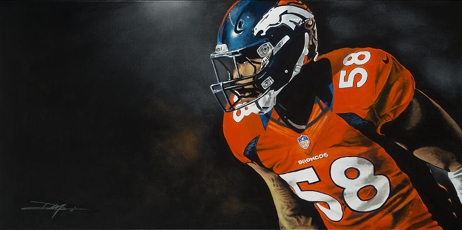 Broncos Drawing - Von Miller by Don Medina