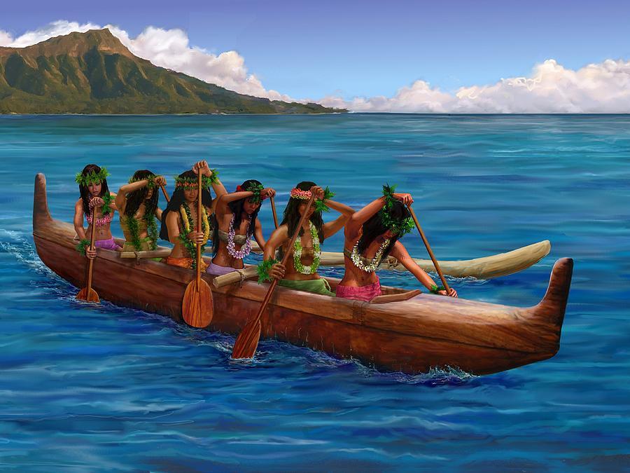 wahine hawaiian canoe paddlers painting by stephen jorgensen