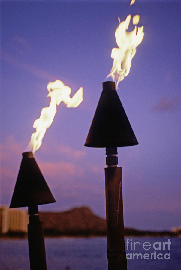 Burn Photograph - Waikiki, Tiki Torches by Carl Shaneff - Printscapes