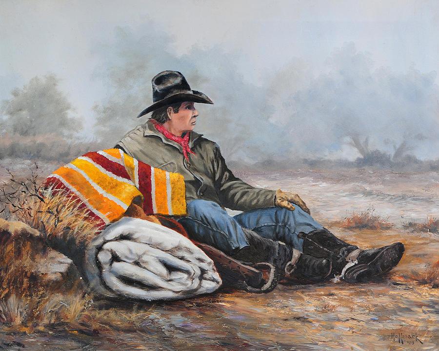 Bob Hallmark Painting - Waitin On The Boss by Bob Hallmark