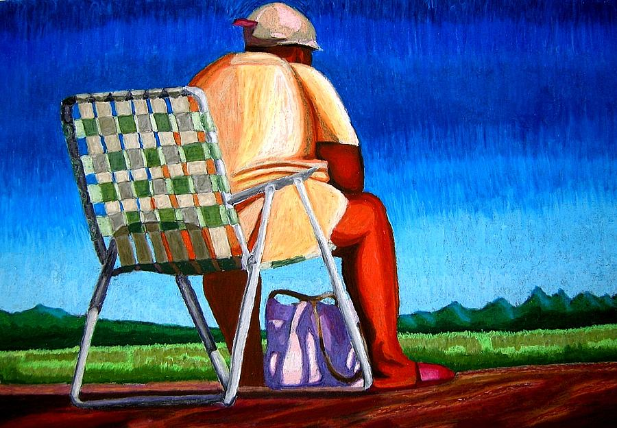 Waiting For New Orleans Pastel by Frank Rozasy
