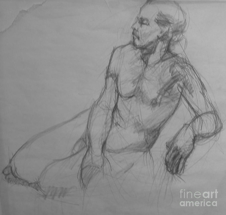 Male Nude Drawing - Waiting by Nancy Delpero