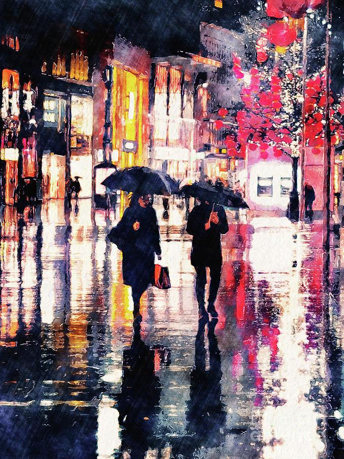 Raining Digital Art - Walking In The Rain by Phil Perkins