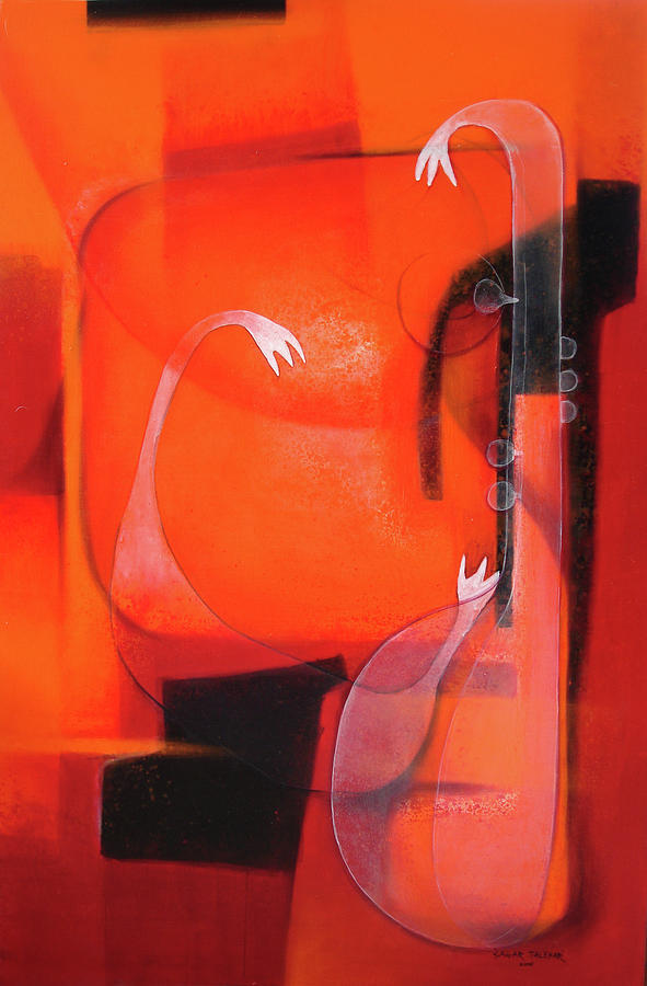 Abstract Painting - Warm Veena by Sagar Talekar