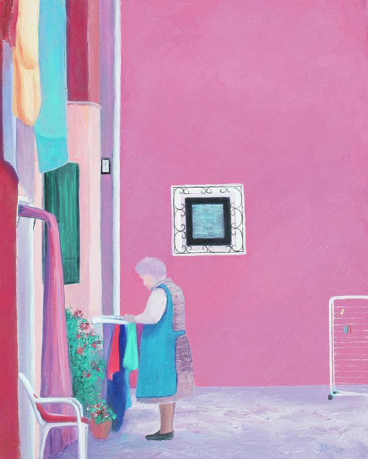 Burano Painting - Washing Day, Burano, Venice by Jan Matson