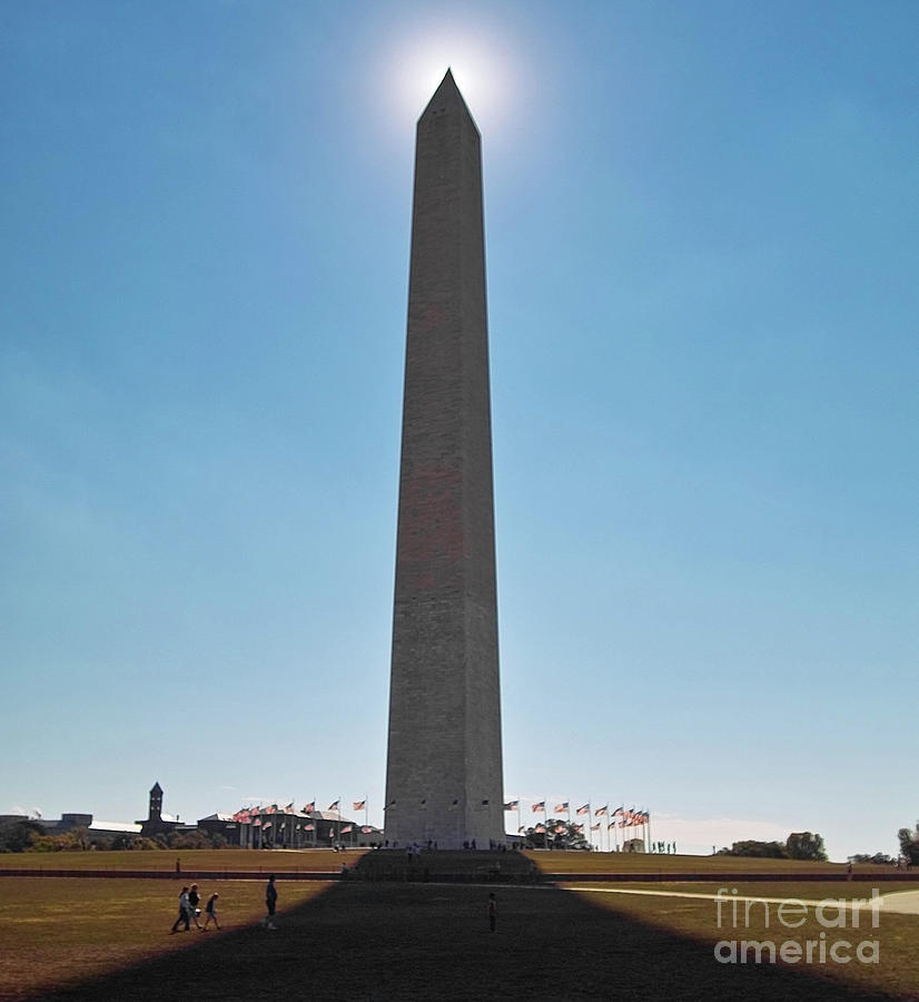 Washington Monument With Sun, Washington Dc Photograph