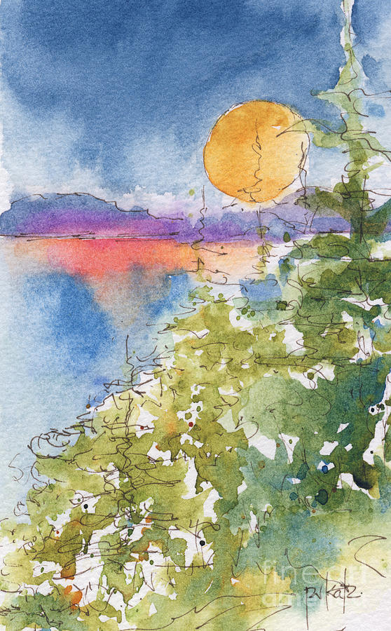 Watercolor Painting - Waskesiu Sunset by Pat Katz