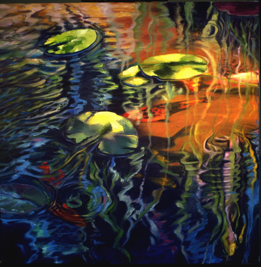 Koi Painting - Water Garden Series-c by Patricia Reed