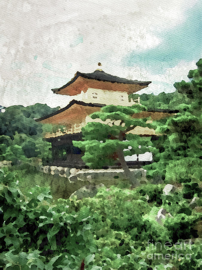 Watercolor Painting The Japanese Garden At Kinkaku Ji Temple In
