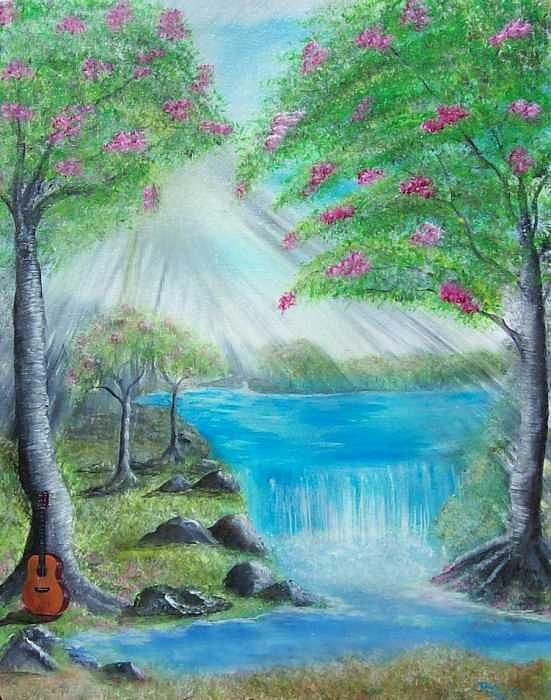 Guitar Painting - Waterfall by Tony Rodriguez
