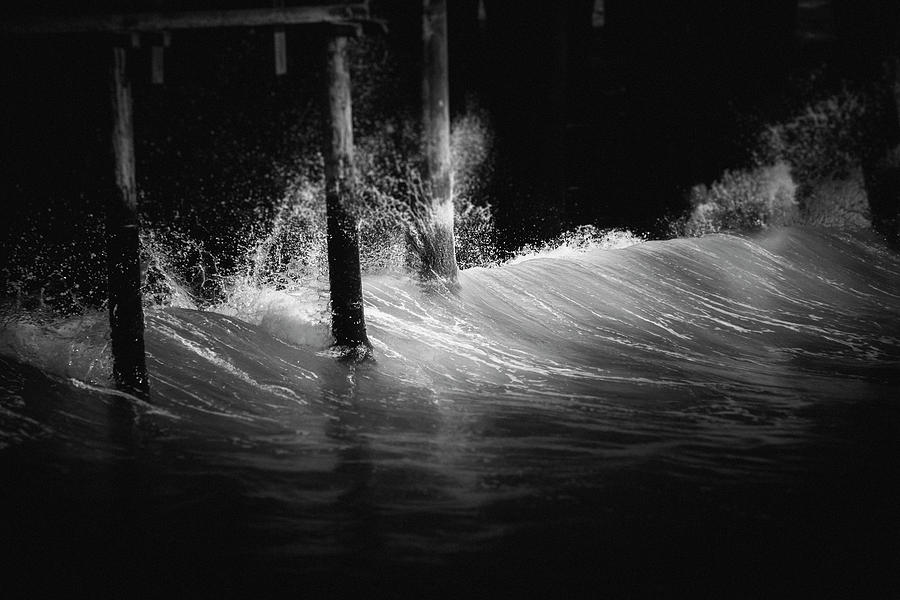 Waves Photograph - Waves Against The Pier  by Matthew Nelson