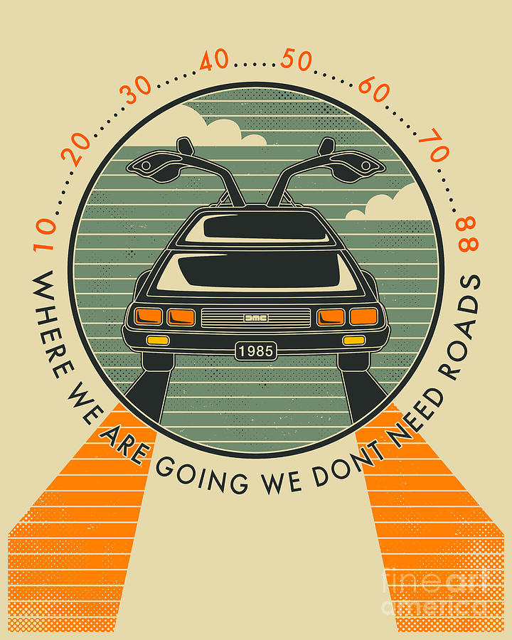 Retro Digital Art - We Dont Need Roads by Jazzberry Blue