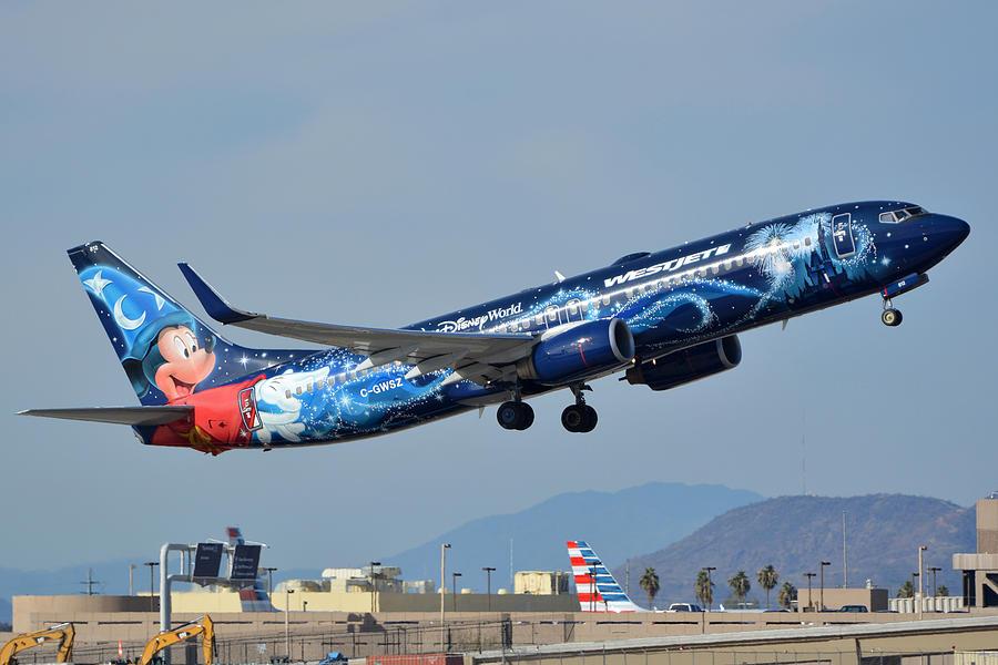 Airplane Photograph - Westjet Boeing 737-8ct C-gwsz Magic Plane Phoenix Sky Harbor January 22 2016 by Brian Lockett
