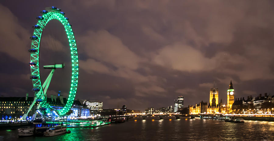 Millennium Wheel Photograph - Westminster And The London Eye by Dawn OConnor